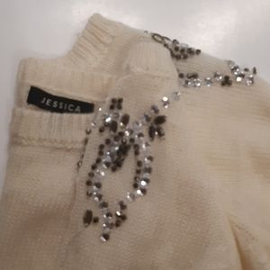Sweaters - XL White Jessica sweater with embellished shoulder
